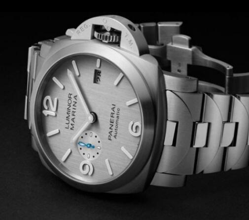 The blue small seconds is eye-catching on the silver dial.