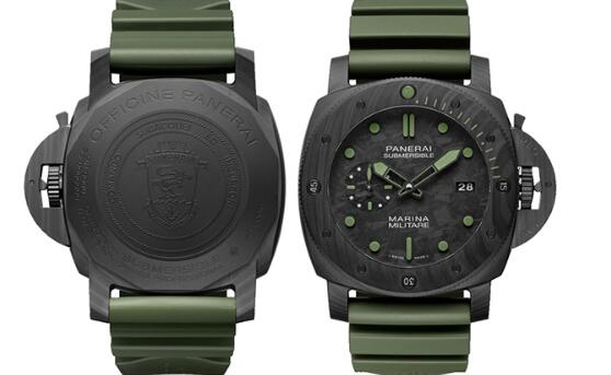 The carbon fiber case makes the timepiece look technological.