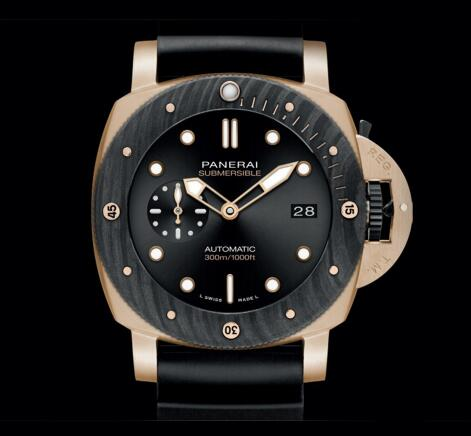 The black sunray dial of copy Panerai is very amazing.