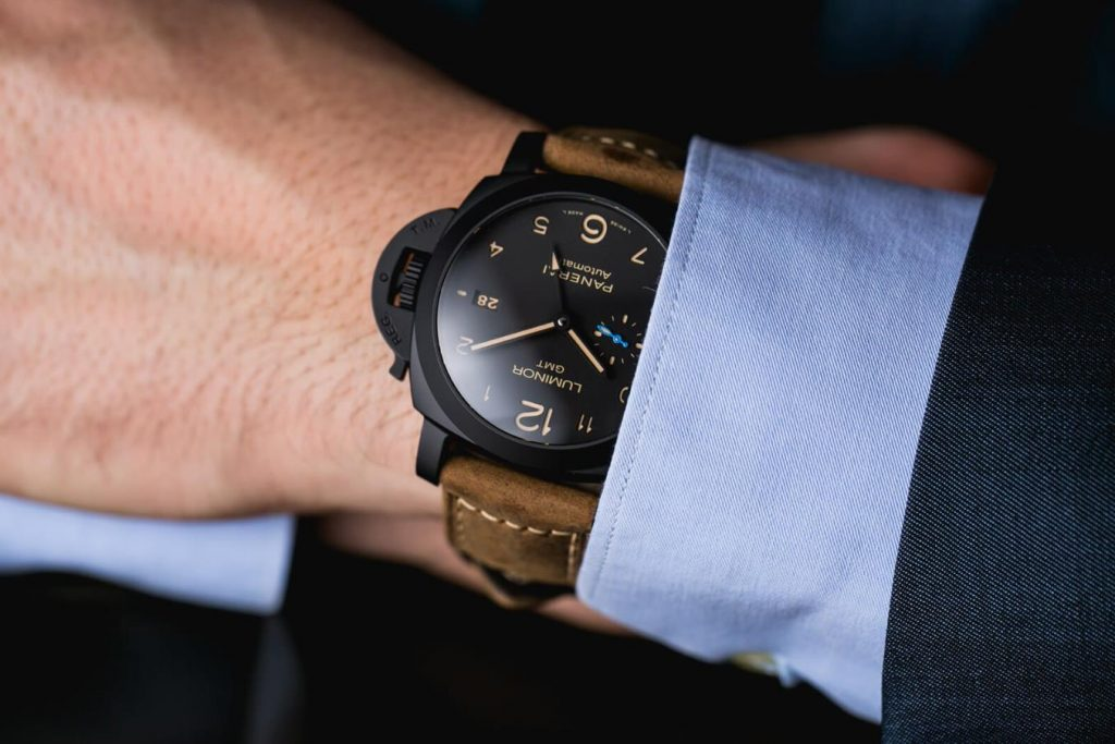 The 44mm replica watch is made from black ceramic.