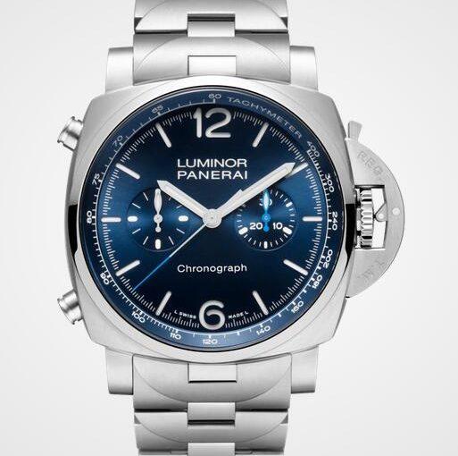 1:1 Waterproof Fake Panerai Luminor Chrono Watches With Blue Dials